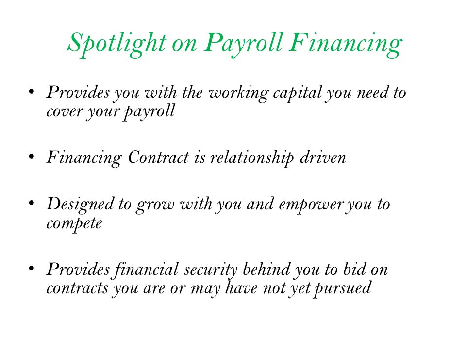 Payroll is created based upon employee, payroll and billing data entered into leading industry software* Payroll is advanced at 100% & processed Up to 98 % Advance on Profit All payroll related tax payments and filings Accommodates all payroll/ billing cycles Invoices produced in your name and directing payments to a lockbox remittance address; Invoices are transmitted Advances on profit occur weekly Customers payments are applied daily * Avionte payroll/billing software or Procas for Government available Payroll is advanced at 100% by Prosperity Up to 90% advance on profit; Each funding request is supported by payroll and invoice register, approved time data and invoice copies 10% Holdback - Refunds as Invoice is paid You choose which invoices you want to submit for funding Invoices transmitted by you to customer with Prosperity s Lockbox remittance address Funding occurs same or next day; With proper documentation, unbilled and monthly scenarios can be accommodated Customers payments are applied daily Full Service Funding Only