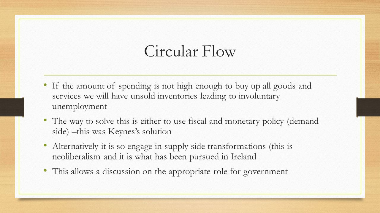 Circular Flow If the amount of spending is not high enough to buy up all goods and services we will have unsold inventories leading to involuntary unemployment The way to solve this is either to use fiscal and monetary policy (demand side) –this was Keynes's solution Alternatively it is so engage in supply side transformations (this is neoliberalism and it is what has been pursued in Ireland This allows a discussion on the appropriate role for government