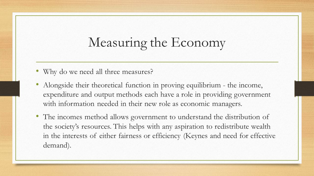 Measuring the Economy Why do we need all three measures.