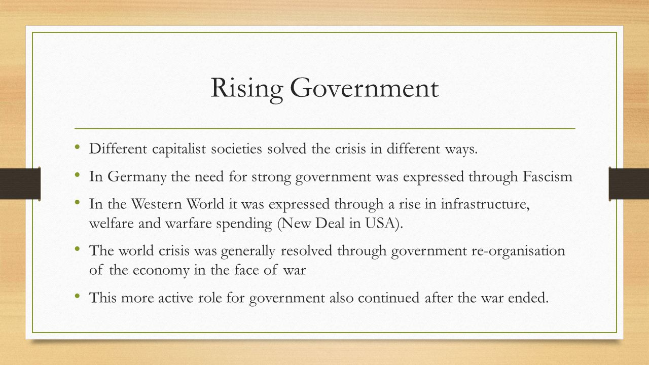 Rising Government After WWII the percentage of the economy in public hands increased dramatically (from around 15% to around 35% -in some cases 50%) The circular flow model is an attempt to add a view of the macroeconomy onto micro foundations without any contradictions.