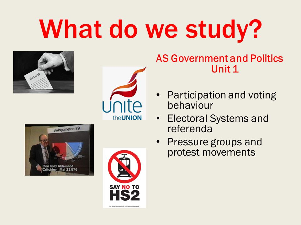 What do we study? AS Government and Politics Unit 1 Participation and voting behaviour Electoral Systems and referenda Pressure groups and protest mov