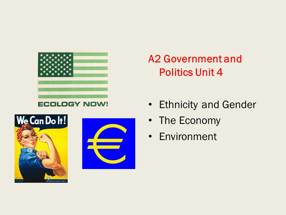 A2 Government and Politics Unit 4 Ethnicity and Gender The Economy Environment
