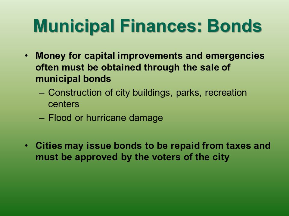 Municipal Finances: Fees When residents are charged for a particular government service, this is called a user fee – –These fees are popular because v