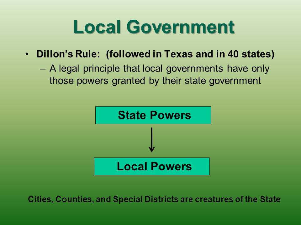 Local Government Dillon's Rule: (followed in Texas and in 40 states) – –A legal principle that local governments have only those powers granted by their state government State Powers Local Powers Cities, Counties, and Special Districts are creatures of the State