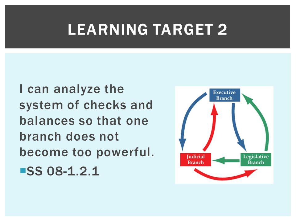I can analyze the system of checks and balances so that one branch does not become too powerful.  SS 08-1.2.1 LEARNING TARGET 2