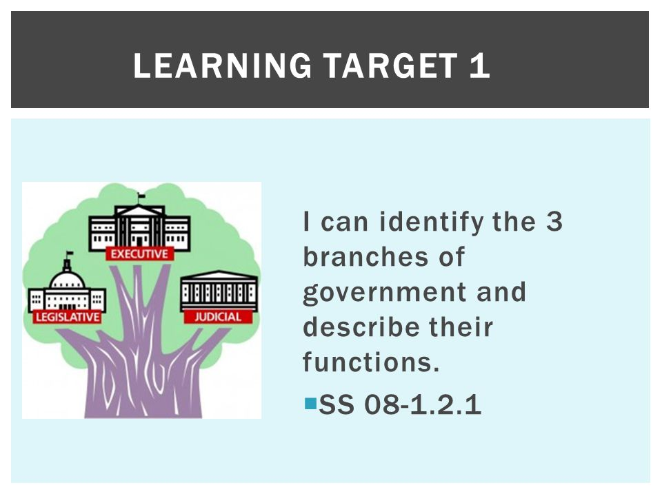 I can identify the 3 branches of government and describe their functions.  SS 08-1.2.1 LEARNING TARGET 1