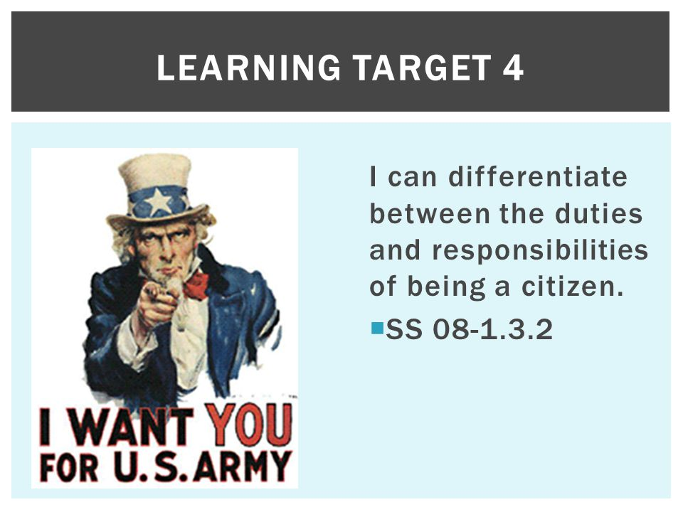 I can differentiate between the duties and responsibilities of being a citizen.  SS 08-1.3.2 LEARNING TARGET 4