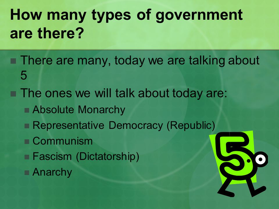 How many types of government are there.