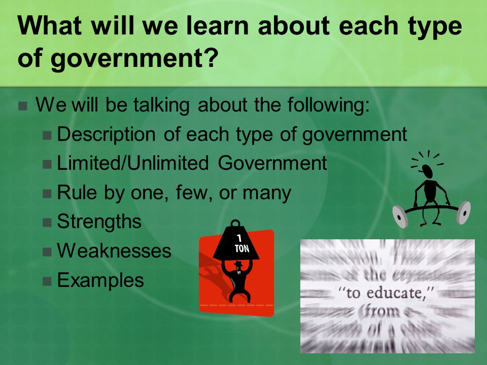 What will we learn about each type of government? We will be talking about the following: Description of each type of government Limited/Unlimited Gov