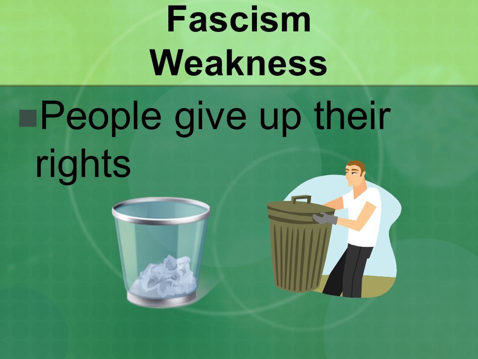 Fascism Weakness People give up their rights