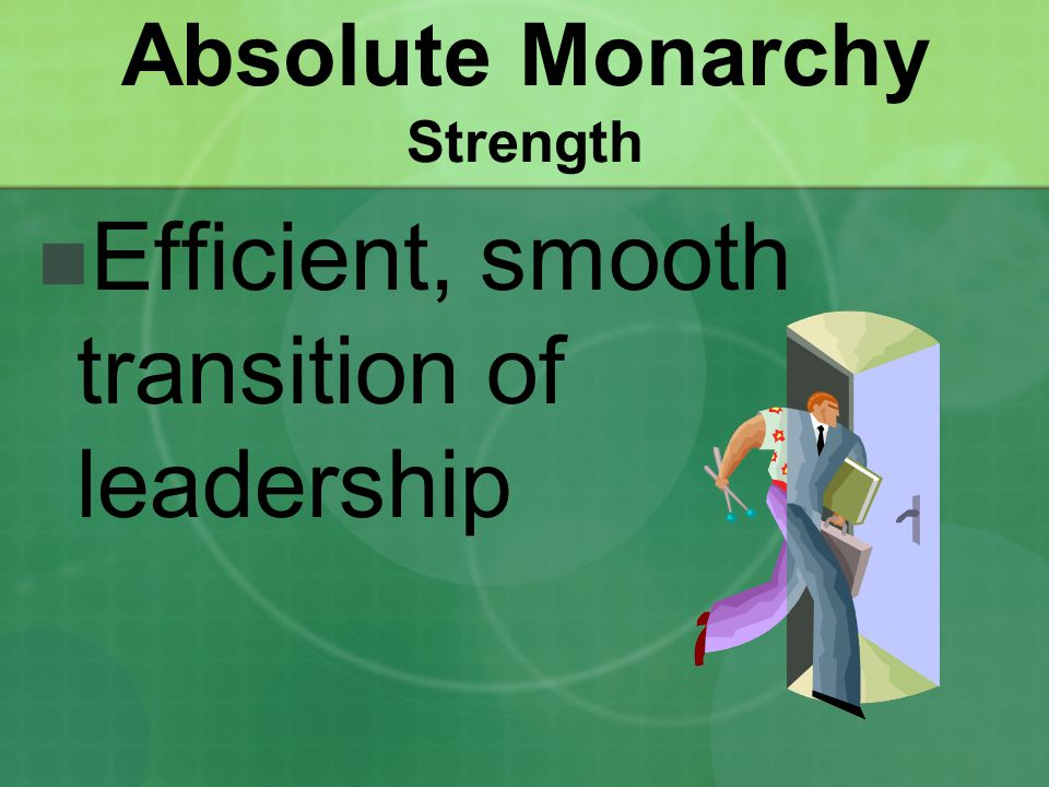 Absolute Monarchy Strength Efficient, smooth transition of leadership