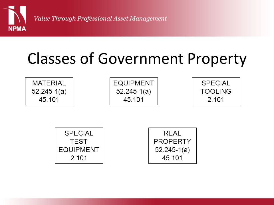 Classes of Government Property MATERIAL 52.245-1(a) 45.101 EQUIPMENT 52.245-1(a) 45.101 SPECIAL TOOLING 2.101 SPECIAL TEST EQUIPMENT 2.101 REAL PROPER