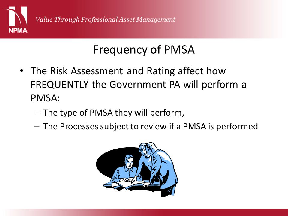 Frequency of PMSA The Risk Assessment and Rating affect how FREQUENTLY the Government PA will perform a PMSA: – The type of PMSA they will perform, –