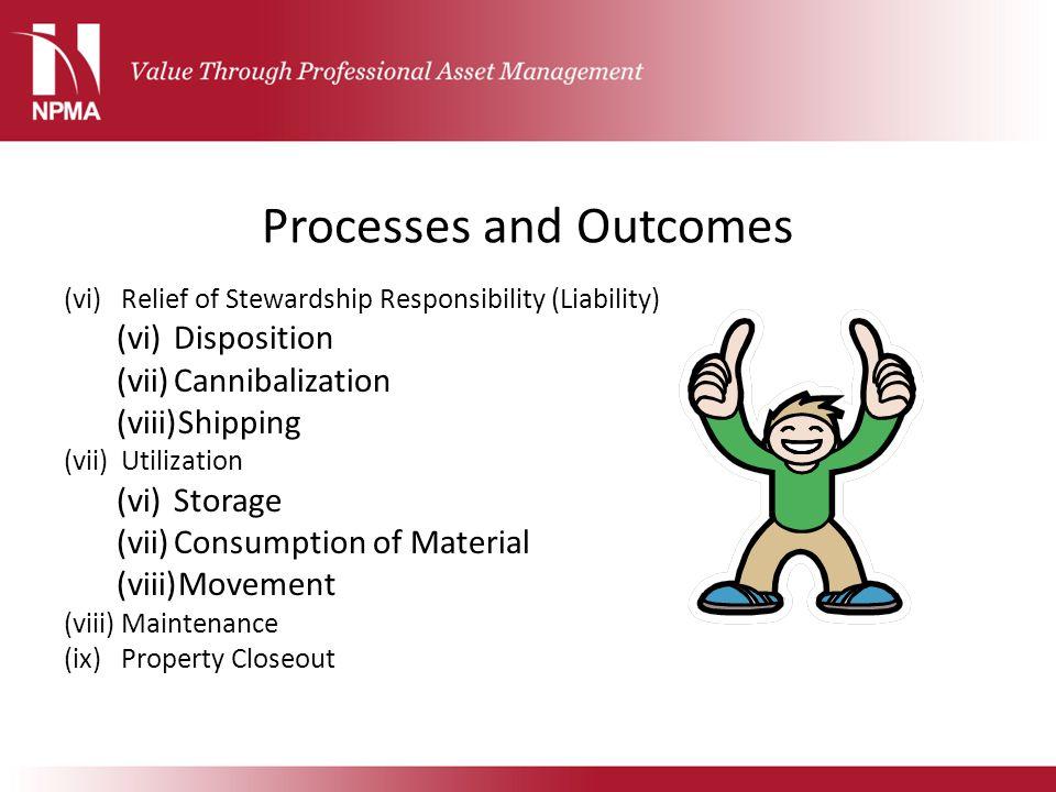 Processes and Outcomes (vi)Relief of Stewardship Responsibility (Liability) (vi)Disposition (vii)Cannibalization (viii)Shipping (vii)Utilization (vi)S