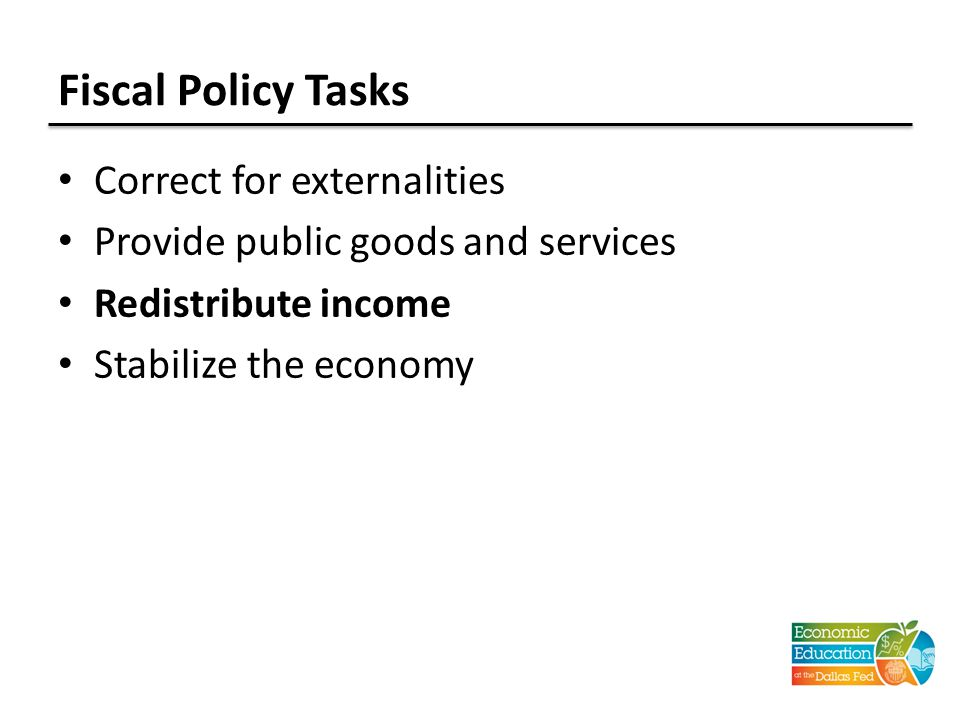 Fiscal Policy Tasks Correct for externalities Provide public goods and services Redistribute income Stabilize the economy
