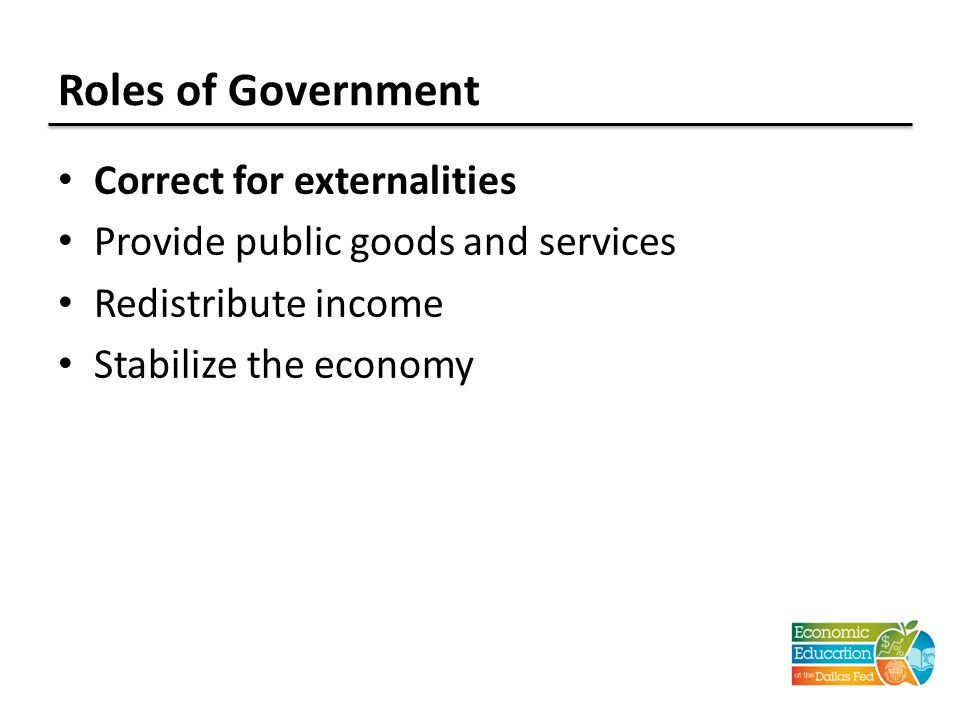 Roles of Government Correct for externalities Provide public goods and services Redistribute income Stabilize the economy