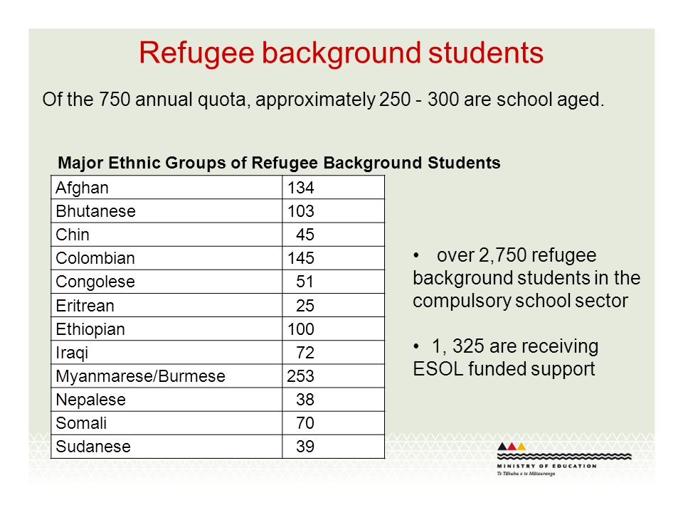 Refugee background students Of the 750 annual quota, approximately 250 - 300 are school aged. Afghan134 Bhutanese103 Chin 45 Colombian145 Congolese 51