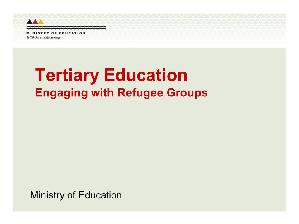 Tertiary Education Engaging with Refugee Groups Ministry of Education