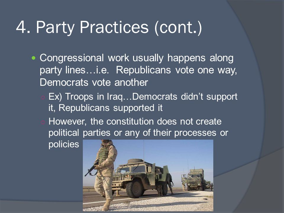 4.Party Practices (cont.) Congressional work usually happens along party lines…i.e.