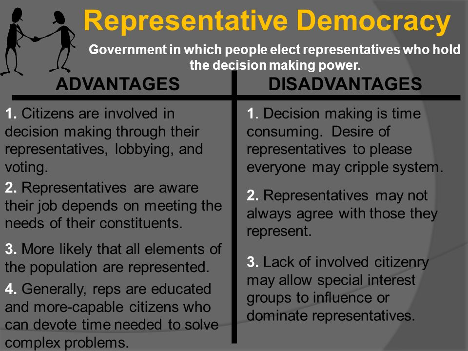 Representative Democracy Government in which people elect representatives who hold the decision making power. ADVANTAGES DISADVANTAGES 1. Citizens are