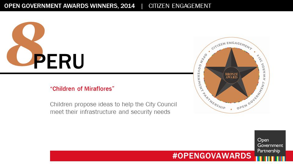 Flag placeholder: 2.45 x 2.45 OPEN GOVERNMENT AWARDS WINNERS, 2014 | CITIZEN ENGAGEMENT #OPENGOVAWARDS 8 PERU Children of Miraflores Children propose ideas to help the City Council meet their infrastructure and security needs #OPENGOVAWARDS
