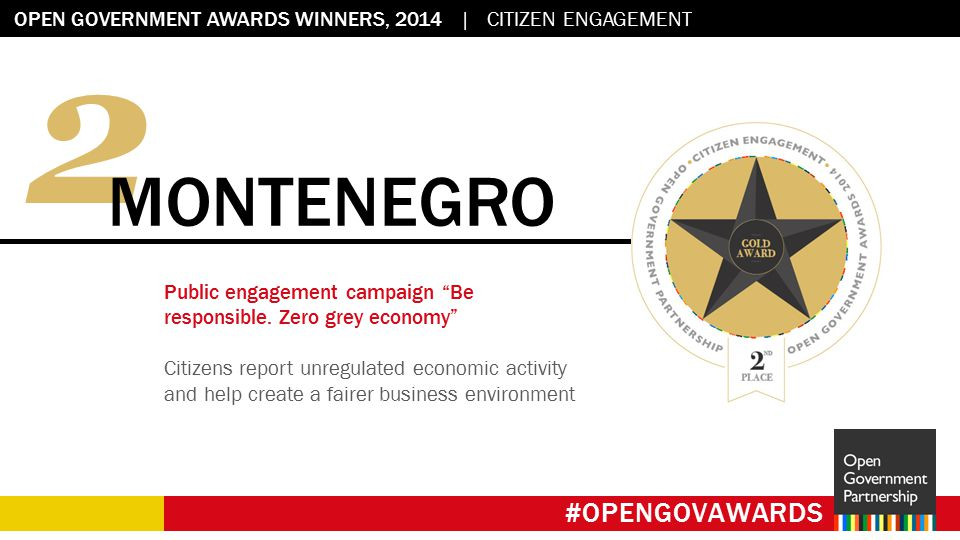 Flag placeholder: 2.45 x 2.45 OPEN GOVERNMENT AWARDS WINNERS, 2014 | CITIZEN ENGAGEMENT #OPENGOVAWARDS 2 MONTENEGRO Public engagement campaign Be responsible.