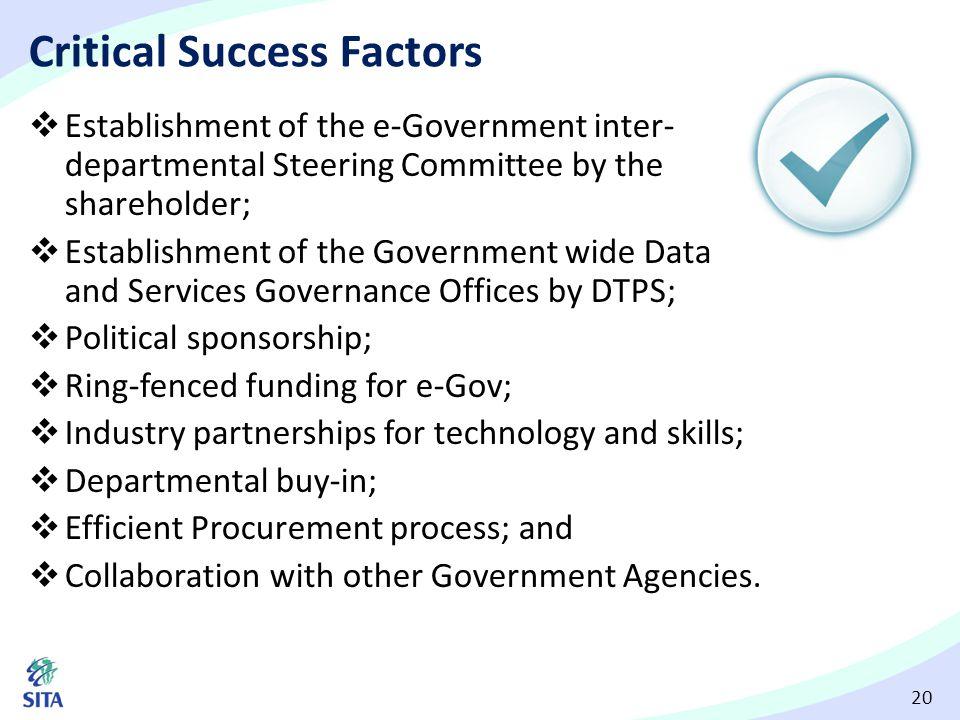 20 Critical Success Factors  Establishment of the e-Government inter- departmental Steering Committee by the shareholder;  Establishment of the Gove