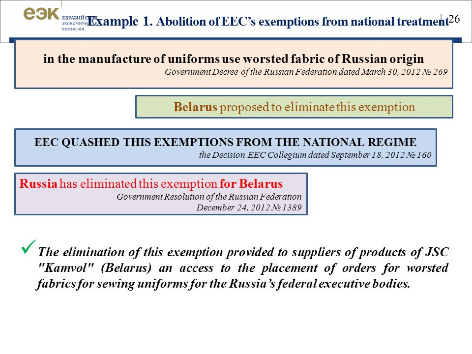 Example 1. Abolition of EEC's exemptions from national treatment The elimination of this exemption provided to suppliers of products of JSC