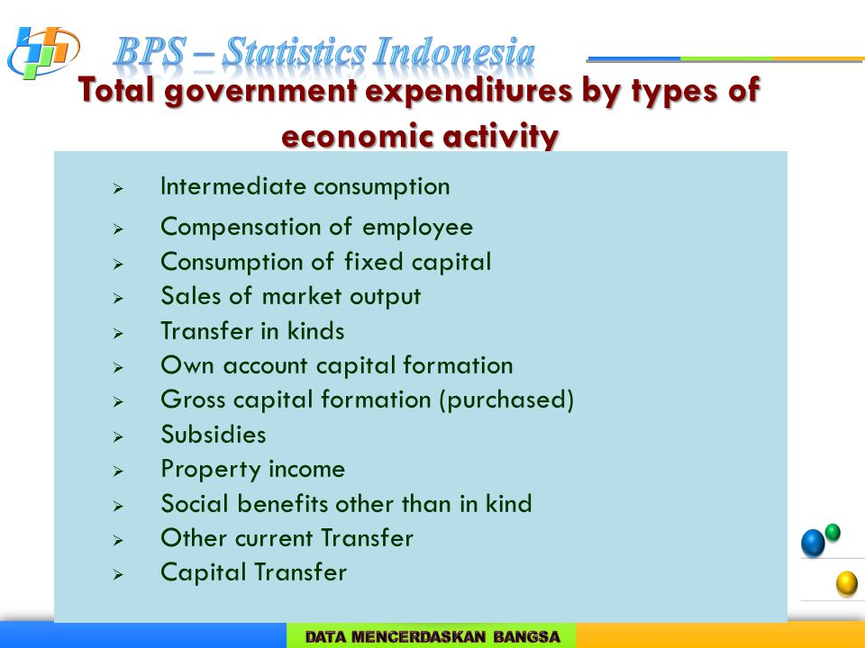 Total government expenditures by types of economic activity  Intermediate consumption  Compensation of employee  Consumption of fixed capital  Sales of market output  Transfer in kinds  Own account capital formation  Gross capital formation (purchased)  Subsidies  Property income  Social benefits other than in kind  Other current Transfer  Capital Transfer