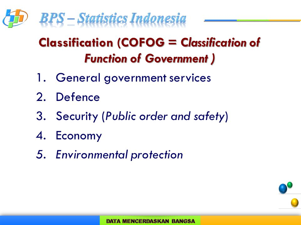 Classification (COFOG = Classification of Function of Government ) 1.General government services 2.Defence 3.Security (Public order and safety) 4.Economy 5.Environmental protection