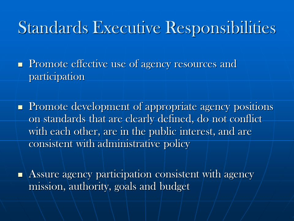 Standards Executive Responsibilities Promote effective use of agency resources and participation Promote effective use of agency resources and partici