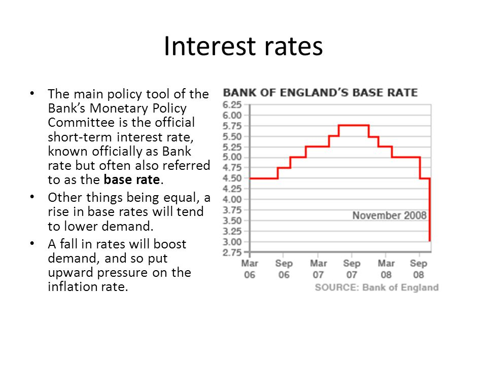 Interest rates The main policy tool of the Bank's Monetary Policy Committee is the official short-term interest rate, known officially as Bank rate bu