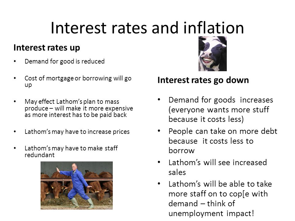 Interest rates and inflation Interest rates up Demand for good is reduced Cost of mortgage or borrowing will go up May effect Lathom's plan to mass pr