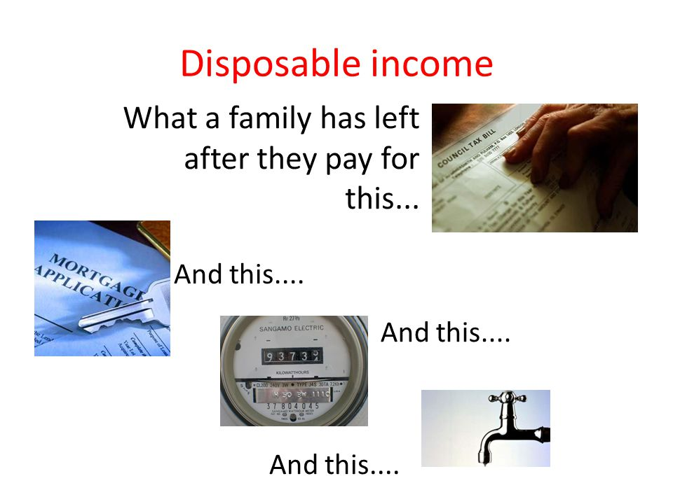 Disposable income What a family has left after they pay for this... And this....