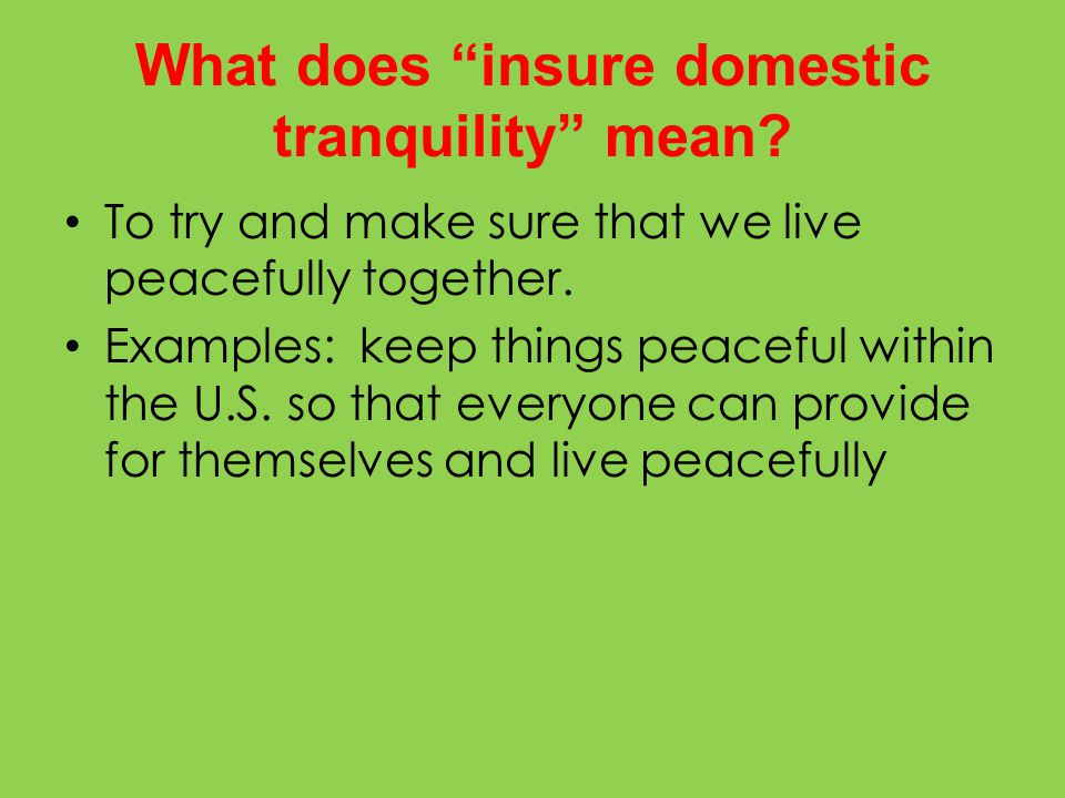 What does insure domestic tranquility mean.