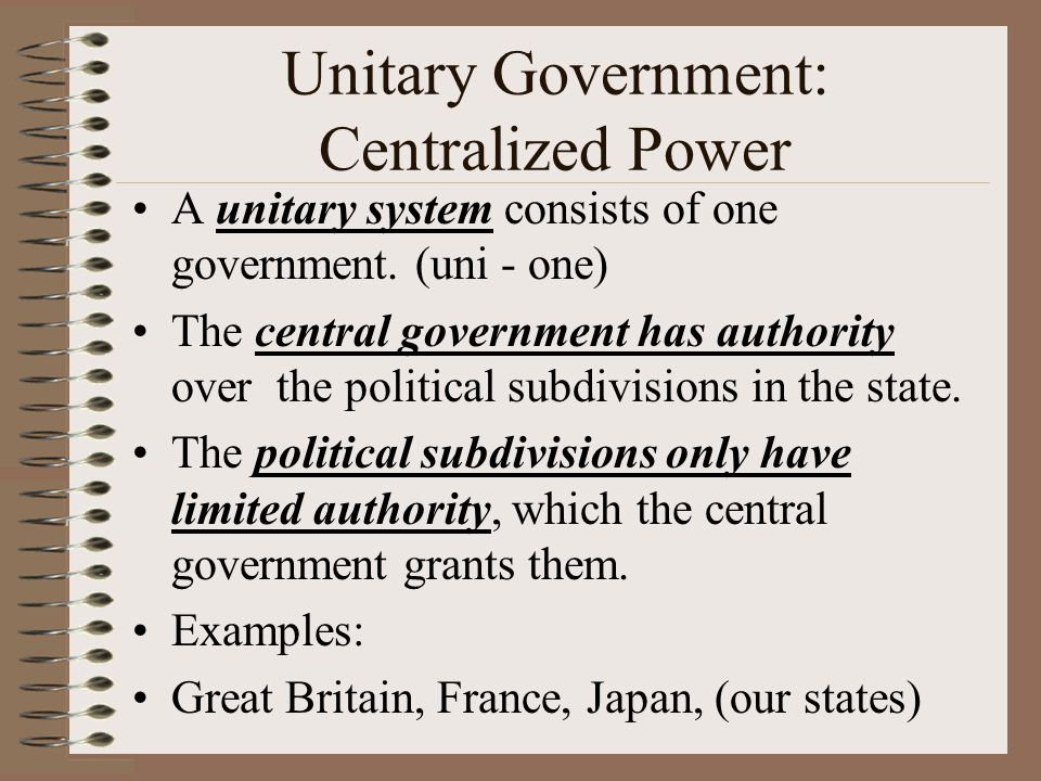 Government Systems The relationship between the national government and the smaller divisions (state/local) can be described as either unitary, federal or confederation.