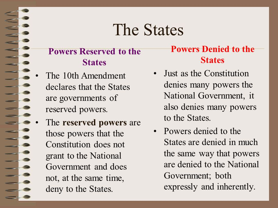 Powers Denied to the National Government Powers are denied to the National Government in three distinct ways: Some powers, such as the power to prohib