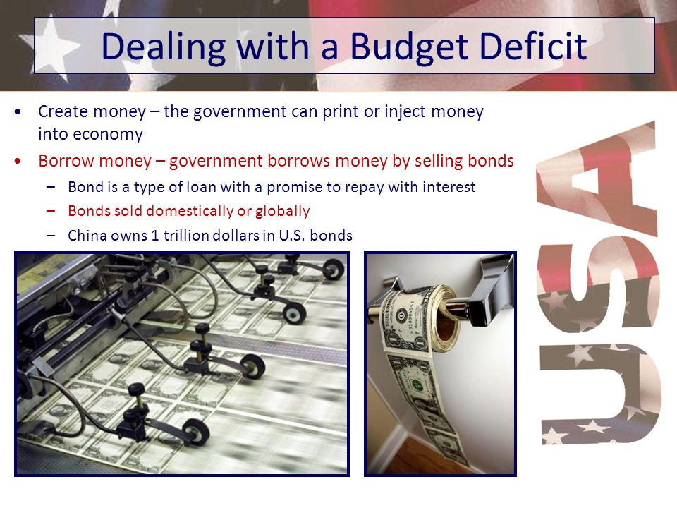 Budget Surplus – occurs when the government takes in more than it spends –Revenue > Spending Budget Deficit – occurs when the government spends more t