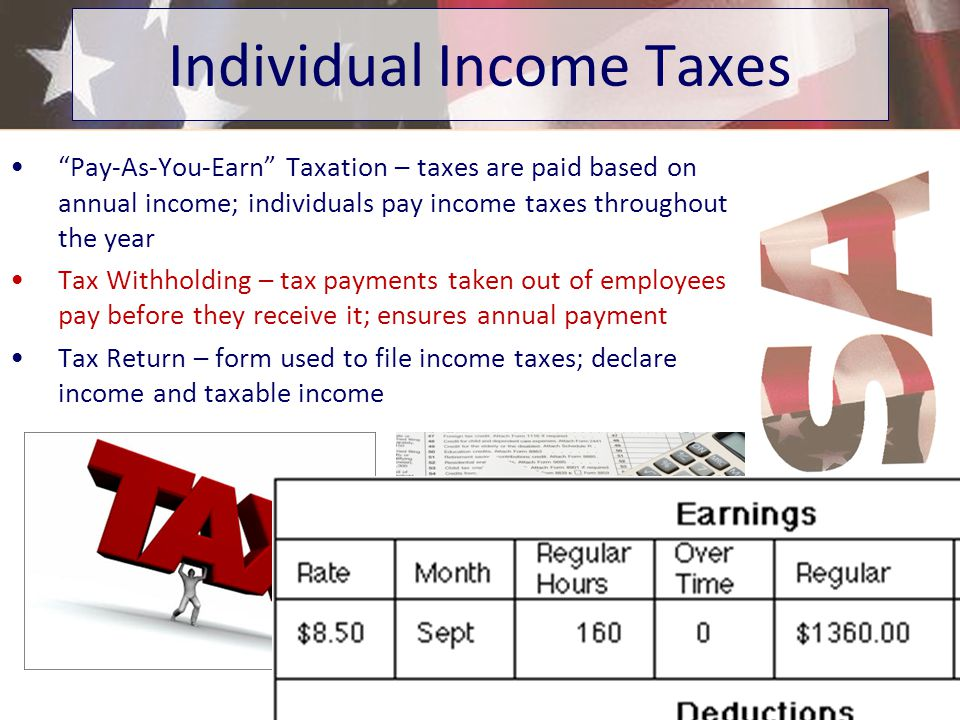 Pay-As-You-Earn Taxation – taxes are paid based on annual income; individuals pay income taxes throughout the year Tax Withholding – tax payments taken out of employees pay before they receive it; ensures annual payment Tax Return – form used to file income taxes; declare income and taxable income Individual Income Taxes