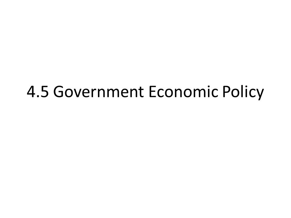 4.5 Government Economic Policy