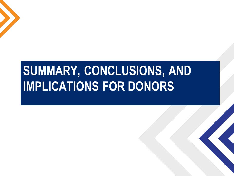 SUMMARY, CONCLUSIONS, AND IMPLICATIONS FOR DONORS