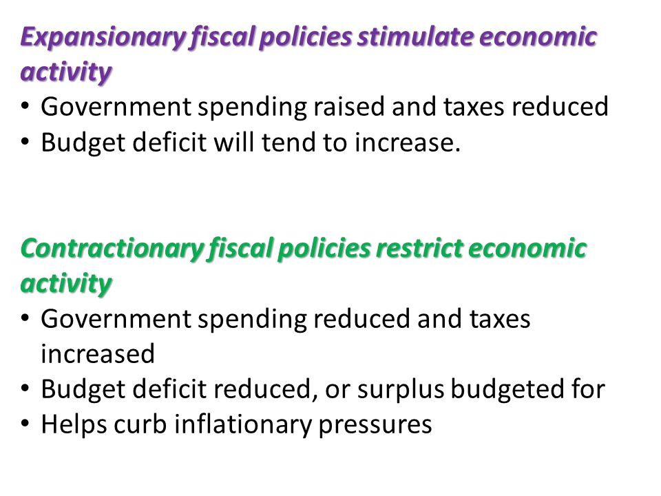 Expansionary fiscal policies stimulate economic activity Government spending raised and taxes reduced Budget deficit will tend to increase.