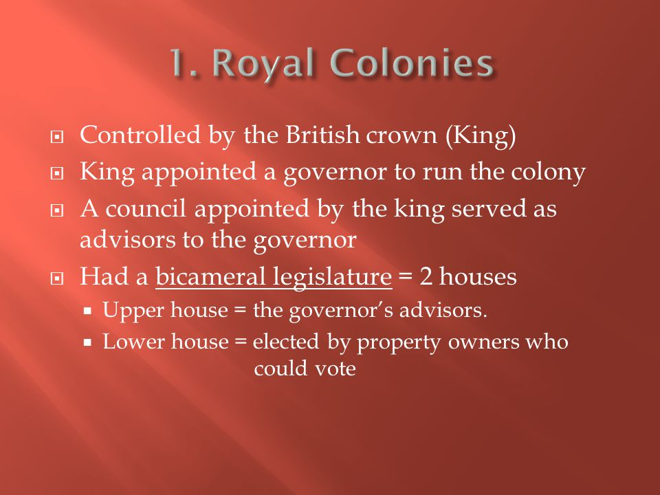  Controlled by the British crown (King)  King appointed a governor to run the colony  A council appointed by the king served as advisors to the gov