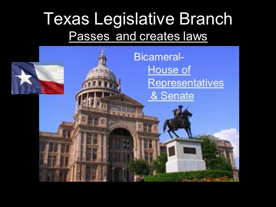 Texas Legislative Branch Passes and creates laws Bicameral- House of Representatives & Senate
