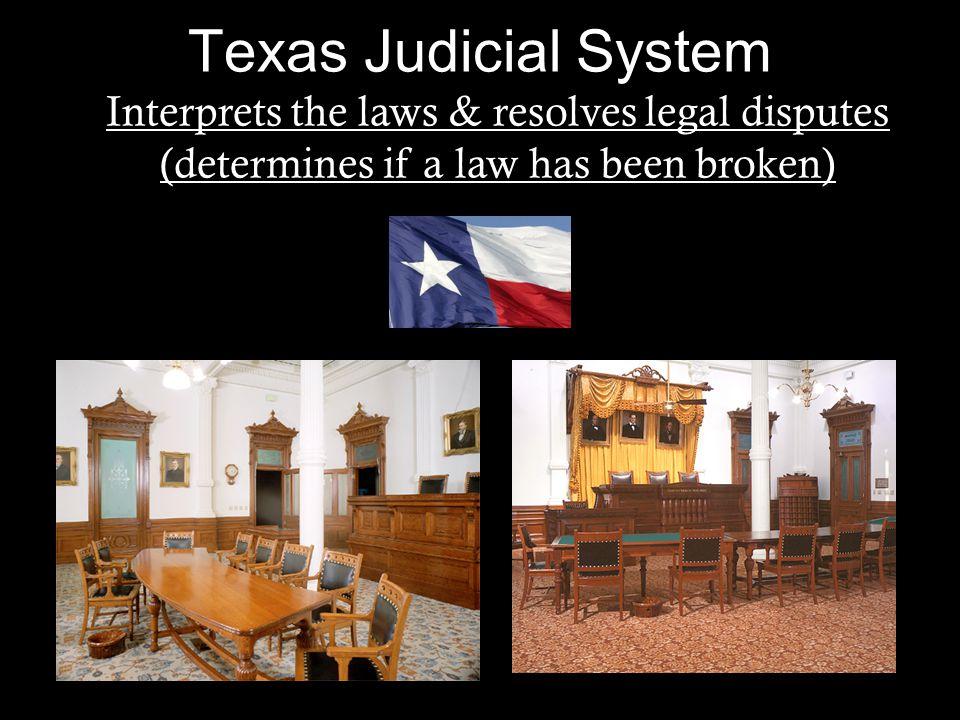 Texas Judicial System Interprets the laws & resolves legal disputes (determines if a law has been broken)