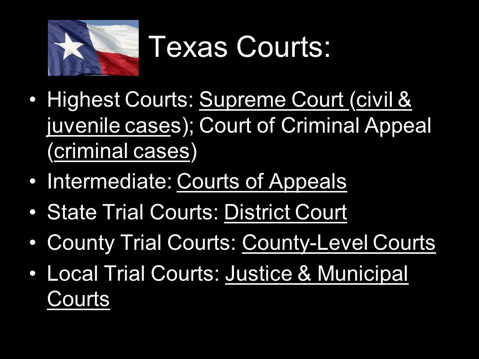 Texas Courts: Highest Courts: Supreme Court (civil & juvenile cases); Court of Criminal Appeal (criminal cases) Intermediate: Courts of Appeals State