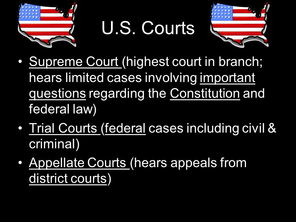 U.S. Courts Supreme Court (highest court in branch; hears limited cases involving important questions regarding the Constitution and federal law) Tria