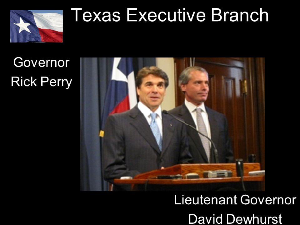 Texas Executive Branch Governor Rick Perry Lieutenant Governor David Dewhurst