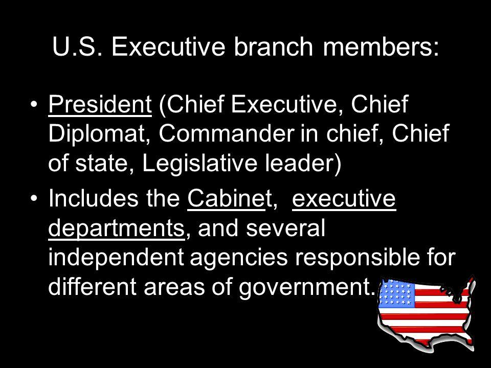 U.S. Executive branch members: President (Chief Executive, Chief Diplomat, Commander in chief, Chief of state, Legislative leader) Includes the Cabine
