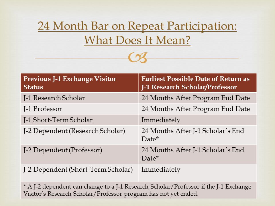 Previous J-1 Exchange Visitor Status Earliest Possible Date of Return as J-1 Research Scholar/Professor J-1 Research Scholar24 Months After Program End Date J-1 Professor24 Months After Program End Date J-1 Short-Term ScholarImmediately J-2 Dependent (Research Scholar)24 Months After J-1 Scholar's End Date* J-2 Dependent (Professor)24 Months After J-1 Scholar's End Date* J-2 Dependent (Short-Term Scholar)Immediately * A J-2 dependent can change to a J-1 Research Scholar/Professor if the J-1 Exchange Visitor's Research Scholar/Professor program has not yet ended.